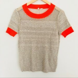 Moth gray neon trimmed short sleeve knit
